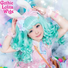 Gothic Lolita Wigs® Baby Dollight™ Collection - Mint Mix – Dolluxe® You're going to love this wig the second you put it on! Our Baby Dollight's Mint Mix is a pure, pastel mint that pairs beautifully with sweet lolita, fairy-kei, and just about any cute style you can imagine! It comes with a base wig and two matching pigtail clips (shown worn), offering more than three hairstyles in one! #girls #beauty #stylish #gothiclolitawigs #GLW #IAMDOLLUXE #wig #coolhair #hairfashion #style #hairstyle