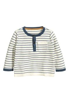 Katoenen trui - Gebroken wit/blauw gestreept - KINDEREN | H&M BE 1
