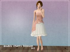 """keoni-chan:  So I don't really do follower gifts because… well I don't really do follower gifts XD But I felt I had to do something to make up for the lack of posting and to thank you for tagging along :3 So here's a small """"Thank you for following"""" gift. It's Anubis' TS3 Cherry Blossom dress, converted to TS2 with Sentate's Lilith pumps. Three colors and matching shoes. The colors are by Poppet, textures are by Anubis. The mesh has a fatmorph, but not a pregmorph, because that looked a bit…"""