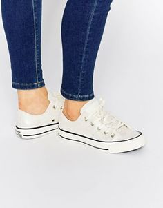 Converse Cracked Nude Leather Ox Trainers