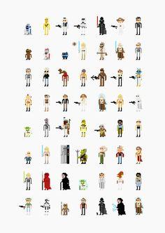 Personagens de filmes em 8-bits.