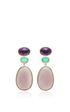 Medium bahina purple amethyst earrings--This item features a dazzling triple stone drop construction with amethyst, chrysoprase, and grey chalcedony.
