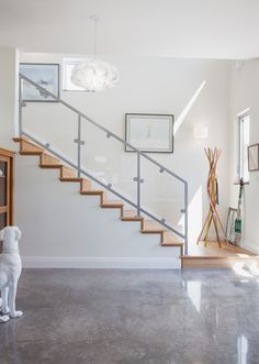 Stair case will be similar to this with the exception of no bottom rail...color ideas on the metal? Can paint it also or go stainless? Thoughts? Should the post be square or circular? The inside curve will have more post, about every 2 ft or so. Or skip the glass and go stainless steel tension wire?
