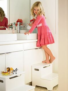 Step Stools for the Kids with Compartment Space #organizing #storage
