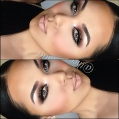 Gorgeous dark brown smokey eye with a nude lip - great for a night out...x