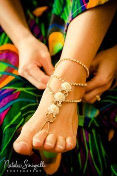 Custom Order Bohemian Bridal WEDDING Foot por ChildOfNatureJewelry, $225,00