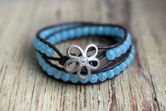 Baby blue Firepolished facettes   Beaded leather wrap by Elegi, $37.00    NEED