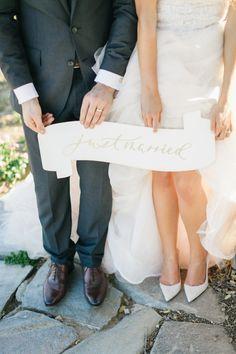 We love this modern 'Just Married' sign: http://www.stylemepretty.com/2015/09/28/romantic-malibu-vineyard-wedding/ | Photography: Jana Williams - http://jana-williams.com/