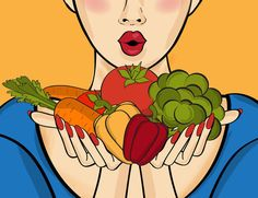 Illustration about Surprised pop art woman that holds vegetables in her hands . Comic woman with speech bubble and healthy food. Illustration of beautiful, freshness, eating - 82298201 Pop Art Women, Nature Illustration, Comic Styles, Thing 1, Hold On, Bubbles, Healthy Recipes, Healthy Food, Vegetables