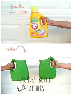 recycle your laundry detergent bottles into a fun game for the kids!