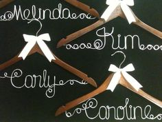 4 Personalized hangers  for Bridesmaid or Flower by AllegroArt