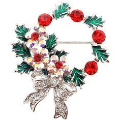 Multicolor Christmas Wreath Crystal Brooch Pin - Fantasyard Costume Jewelry & Accessories
