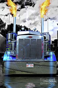 Big Rigs Photograph - Peterbilt With Flaming Stacks by Randy Harris Heavy Duty Trucks, Big Rig Trucks, Heavy Truck, Semi Trucks, Cool Trucks, Lifted Trucks, Pickup Trucks, Dually Trucks, Pickup Camper