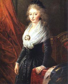 María Teresa de Francia, hija de Luis XVI, fue la única miembro de la familia real logró escapar de la Francia Revolucionaria con la ayuda de su Tío. Pintura de Heinrich Füger.