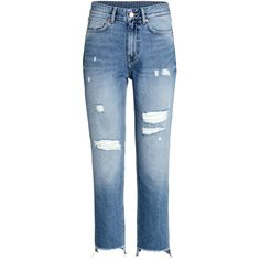 Straight Regular Relaxed Jeans $39.99 (355 SEK) ❤ liked on Polyvore featuring jeans, relaxed straight leg jeans, button-fly jeans, distressed jeans, denim jeans and blue denim jeans