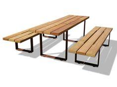 Mesa de picnic rectangular de madera PIC BULL by Metalco | diseño Sjit
