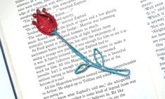 Red Flower Bookmark Metal Bookmark Unique by DragonflyHJewellery