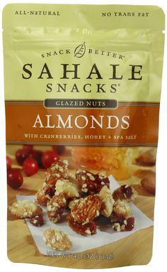 Sahale Snacks Glazed Nuts Almonds with Cranberries, Honey + Sea Salt, 4-Ounce Pouches (Pack of 6)
