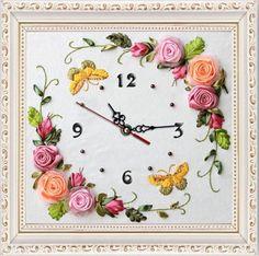 ローズ蝶クロック リボン刺繍キット の絵画ウォール アート画像diy needlewor手作り家の装飾刺繍サークル として ギフト