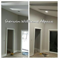 Sherwin Williams Alpaca, SW 7022. Day and night.