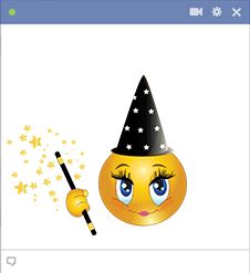 This charming wizard is whipping up a spell that you can share on your Facebook timeline.