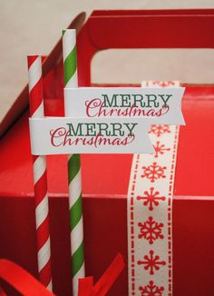 Merry Christmas Drink Straw Flags by GoAgainstTheGrain on Etsy, $12.00