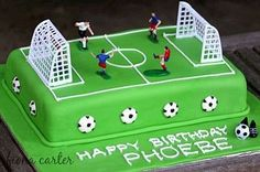 Soccer-cake- with figures Football Birthday Cake, Soccer Birthday Parties, Soccer Party, Cool Birthday Cakes, Boy Birthday, Football Themed Cakes, Football Pitch Cake, Football Cakes For Boys, Football Field Cake
