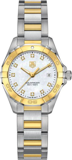 TAG Heuer Watch Aquaracer #bezel-unidirectional #bracelet-strap-gold #brand-tag-heuer #case-material-yellow-gold #case-width-27mm #date-yes #delivery-timescale-4-7-days #dial-colour-white #gender-ladies #luxury #movement-quartz-battery #official-stockist-for-tag-heuer-watches #packaging-tag-heuer-watch-packaging #style-dress #subcat-aquaracer #supplier-model-no-way1451-bd0922 #warranty-tag-heuer-official-2-year-guarantee #water-resistant-300m
