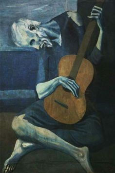 The Old Guitarist-Pablo Picasso-Blue Period-Spanish-Depicts an old, blind, haggard man with threadbare clothing weakly hunched over his guitar. Picasso used very somber colors during this period. Kunst Picasso, Art Picasso, Picasso Blue, Picasso Paintings, Picasso Images, Art Paintings, 20th Century Painters, Giacometti, Georges Braque
