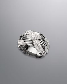 Woven Cable Ring, Pave Diamond  by David Yurman at Neiman Marcus.