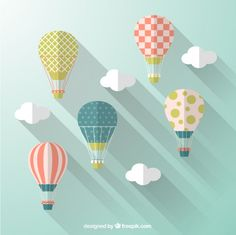 Balões de ar quente no estilo de design plano | Baixar vetores grátis