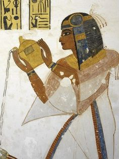 Egypt, Thebes (UNESCO World Heritage List, 1979) - Luxor. Valley of the Kings. Tomb of Prince Mentuherkhepeshef. Mural paintings. Prince pours water (Dynasty 20, 1186-1070 BC) (KV19 - 330478)