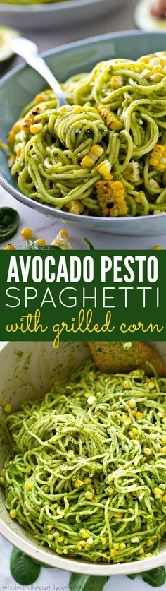 This pesto spaghetti is like summer in a dinner bowl.---Extra-creamy avocado pesto and smoky grilled corn takes your pesto pasta over the top in the flavor department!