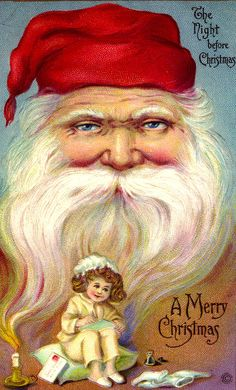 .The Night Before Christmas Santa has a smooth beard, a small doll sits at the bottom