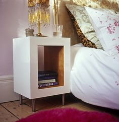 Night stand ... or living room side table with blanket/magazine storage below