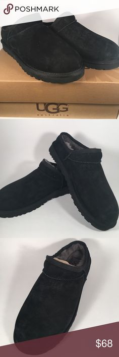 UGG Classic Slipper in Black Suede UGG classic slipper in black suede. Backless slip on style shoe slipper with grey fur lining. Never worn and new in box. Women's size 8. UGG Shoes Slippers