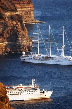 Moored below the Santorini Caldera