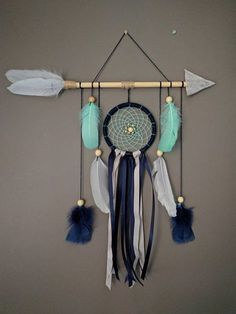 This lovely nursery dreamcatcher wall hanging gives tribal touch to your baby boys nursery. Perfect decoration item for little adventurers room. Great gift for baby shower, for birthdays or etc. It will watch over your babys dreams, keeping away nightmares. And you can rest peacefully, because I use for every item in my shop upcycled and natural materials to minimize the environmental impact. Material & Size: Width of the arrow 50-53 cm (approx 20 ) depending on the size of feathers Leng...