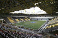 BVB (Borussia Dortmund) home.the Westfalenstadion now known as the Signal Iduna Park Soccer Stadium, Football Stadiums, Signal Iduna, Fc Barcelona, Germany, Soccer Stuff, Architecture, Europe, Spaces