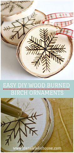 Easy DIY Wood Burned Ornaments Tutorial! Learn how to make these wood burned ornaments - I'm sharing lots of different examples plus a how to. Make these wood burned Christmas ornaments as gifts or handmade gift tags for presents. Wood burned tree slice ornaments are zero waste Christmas decor and environmentally friendly - plus budget-friendly too! Click through for more zero waste Christmas decorations and zero waste Christmas ornaments ideas. #diyornaments #woodburned Merry Christmas, Diy Christmas Ornaments, Homemade Christmas, Holiday Crafts, Ornaments Ideas, Christmas Present Tags, Christmas Decorations, Office Christmas, Holiday Decorating