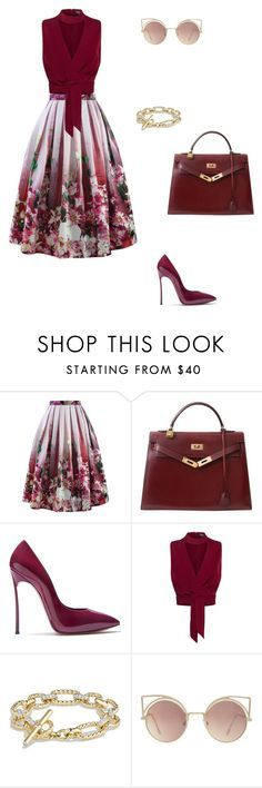 """Untitled #40"" by vikinagy ❤ liked on Polyvore featuring Chicwish, Hermès, Casadei, Columbia, David Yurman, MANGO and Floralskirts"