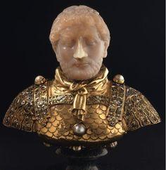 Tête de l'Empereur Hadrien, vers 1240,   calcédoine