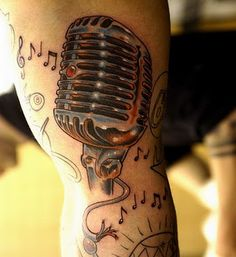 Vintage microphone tattoo ~ This is the base of my idea for a quarter/half sleeve :)