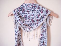 Jersey Cotton Shawl Scarf, Floral. $19.90, via Etsy.