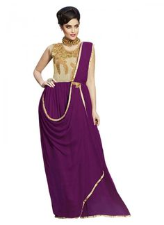 1959f76ca3 Buy Beige And Purple Draped Anarkali Gown online from the wide collection  of Bespoke Gown. This Beige