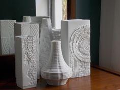 1960s white German OP art relief vases + Danish Modern furniture https://www.etsy.com/listing/180301202/heinrich-white-german-porcelain-vase-mid