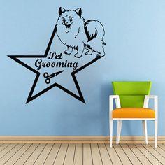 Wall Decals Quote Pet Grooming Decal Dog Scissors Star Vinyl Sticker Pet-Shop Grooming Salon Home Decor Art Mural Ms275