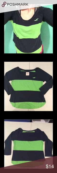Size Small Green/Black Striped HOLLISTER Shirt LOVE this Shirt, the arms are just too tight for me. In excellent condition. 3/4 length sleeves Hollister Tops Tees - Long Sleeve