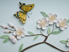 Cherry blossom & butterfly wall art. Paper filigree / quilling. Framed with glass, OOAK. $75.00, via Etsy.