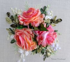 Ricamo Rose. Silk ribbon di SilkRibbonembroidery su Etsy